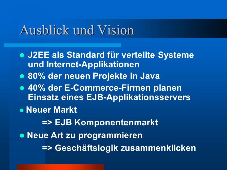 Ausblick und Vision J2EE als Standard für verteilte Systeme und Internet-Applikationen 80% der neuen Projekte in Java 40% der E-Commerce-Firmen planen