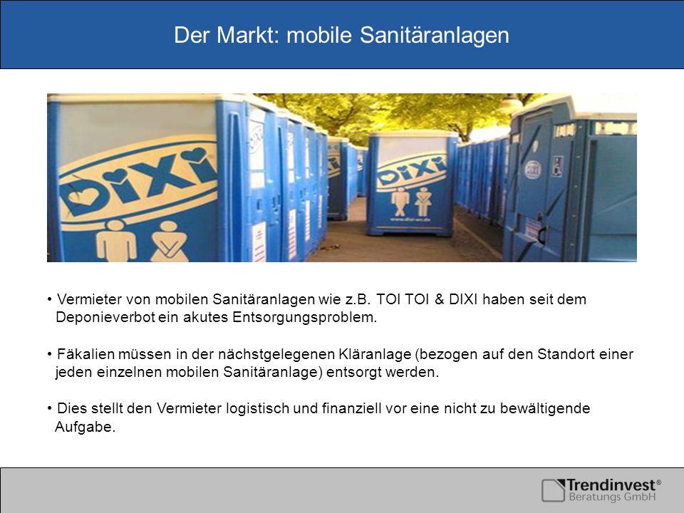 Der Markt: mobile Sanitäranlagen Vermieter von mobilen Sanitäranlagen wie z.B. TOI TOI & DIXI haben seit dem Deponieverbot ein akutes Entsorgungsprobl