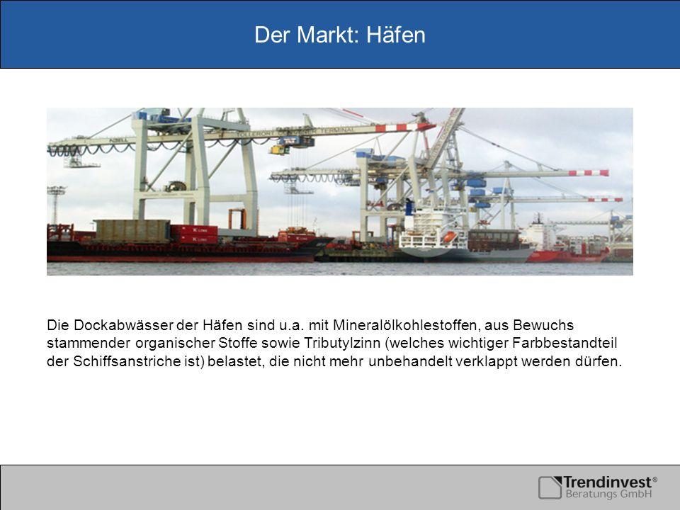 Der Markt: Häfen Die Dockabwässer der Häfen sind u.a. mit Mineralölkohlestoffen, aus Bewuchs stammender organischer Stoffe sowie Tributylzinn (welches