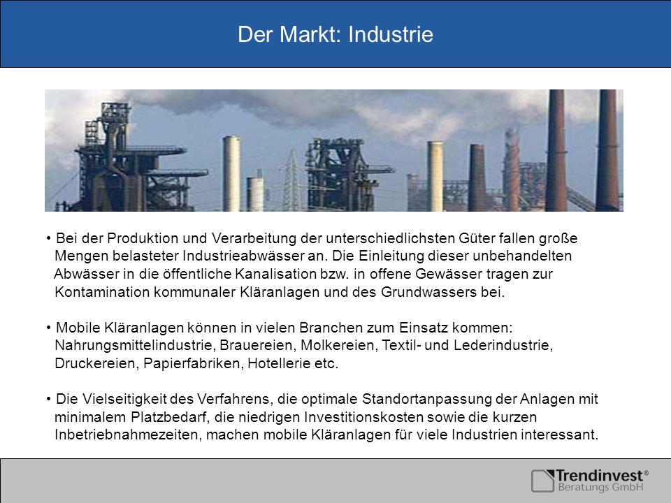 Der Markt: Industrie Bei der Produktion und Verarbeitung der unterschiedlichsten Güter fallen große Mengen belasteter Industrieabwässer an. Die Einlei