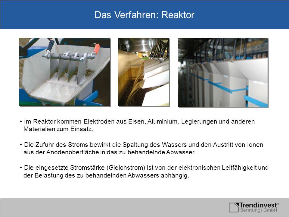 Das Verfahren: Reaktor Im Reaktor kommen Elektroden aus Eisen, Aluminium, Legierungen und anderen Materialien zum Einsatz. Die Zufuhr des Stroms bewir