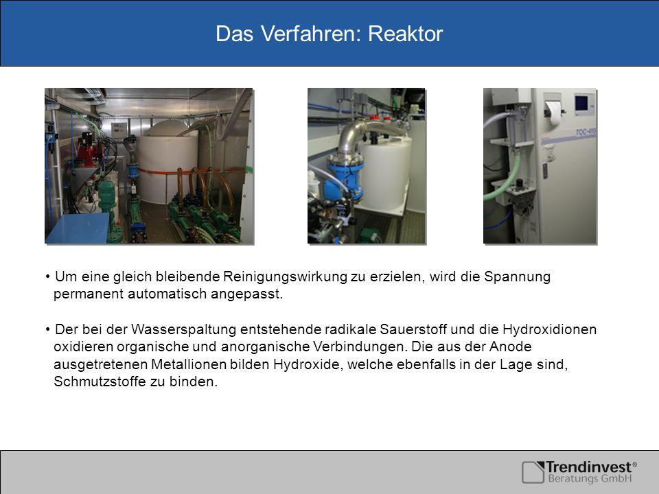 Das Verfahren: Reaktor Um eine gleich bleibende Reinigungswirkung zu erzielen, wird die Spannung permanent automatisch angepasst. Der bei der Wassersp
