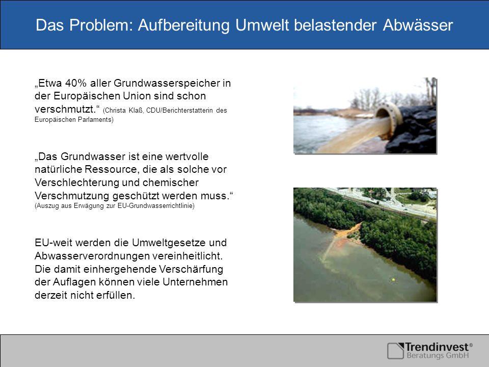 Das Problem: Aufbereitung Umwelt belastender Abwässer Die gängigen Verfahren der zentralenAbwasseraufbereitung in Großkläranlagen ist kostenintensiv und mit Umwelt belastenden Transporten verbunden.