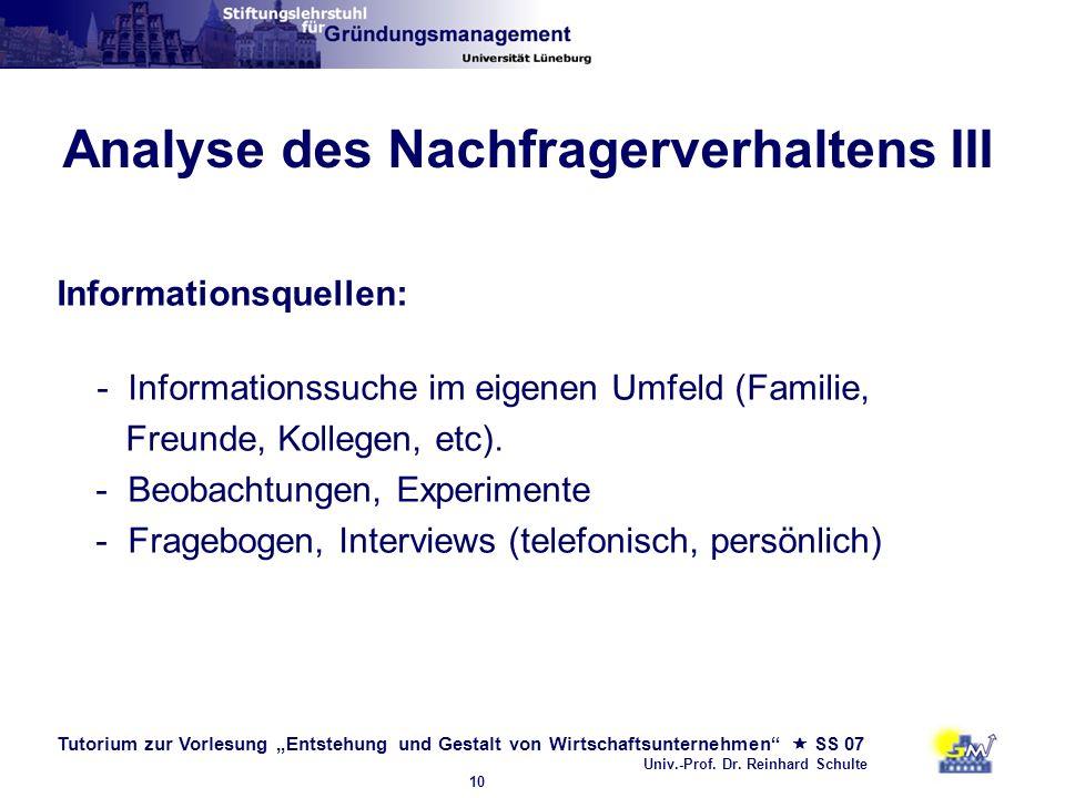 Tutorium zur Vorlesung Entstehung und Gestalt von Wirtschaftsunternehmen SS 07 Univ.-Prof. Dr. Reinhard Schulte 10 Analyse des Nachfragerverhaltens II