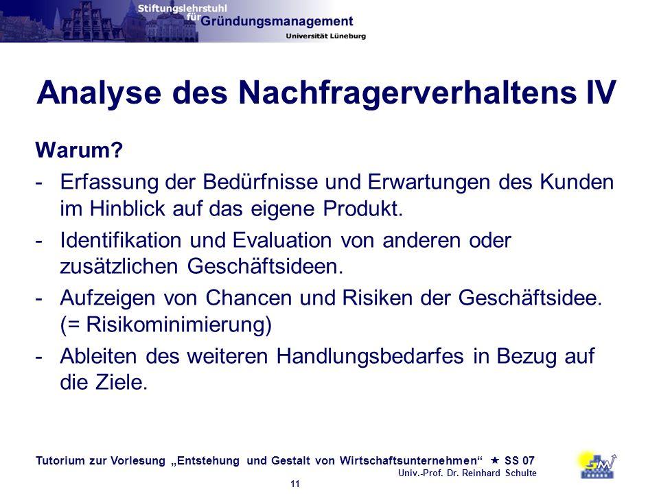 Tutorium zur Vorlesung Entstehung und Gestalt von Wirtschaftsunternehmen SS 07 Univ.-Prof. Dr. Reinhard Schulte 11 Analyse des Nachfragerverhaltens IV