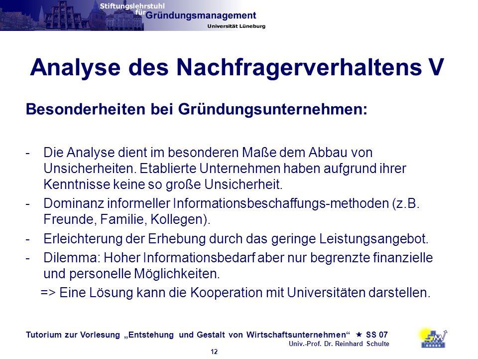 Tutorium zur Vorlesung Entstehung und Gestalt von Wirtschaftsunternehmen SS 07 Univ.-Prof. Dr. Reinhard Schulte 12 Analyse des Nachfragerverhaltens V