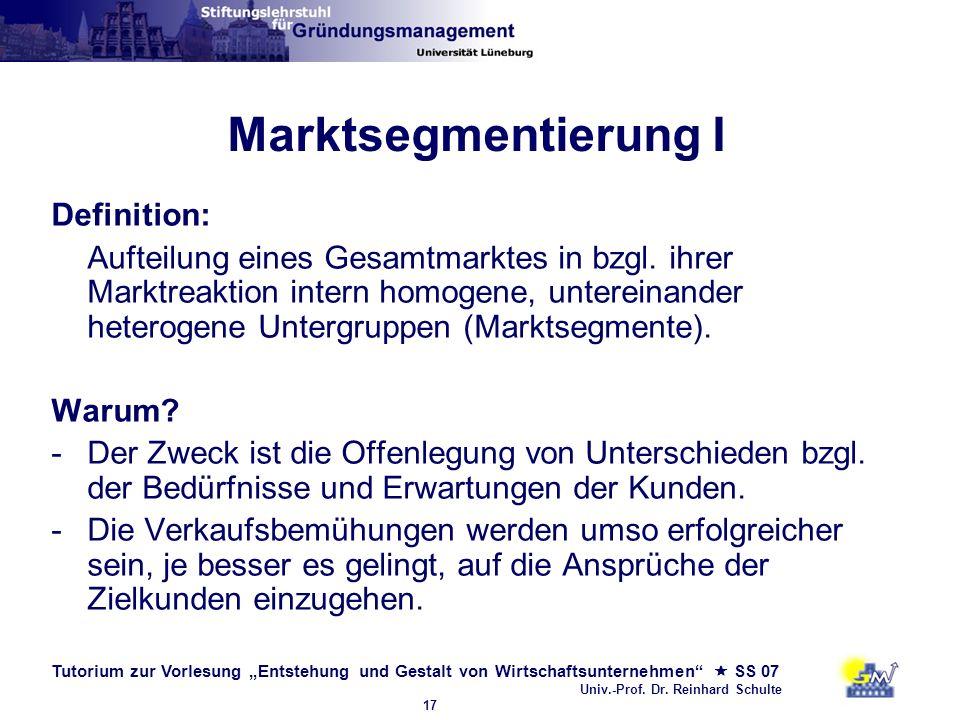 Tutorium zur Vorlesung Entstehung und Gestalt von Wirtschaftsunternehmen SS 07 Univ.-Prof. Dr. Reinhard Schulte 17 Marktsegmentierung I Definition: Au