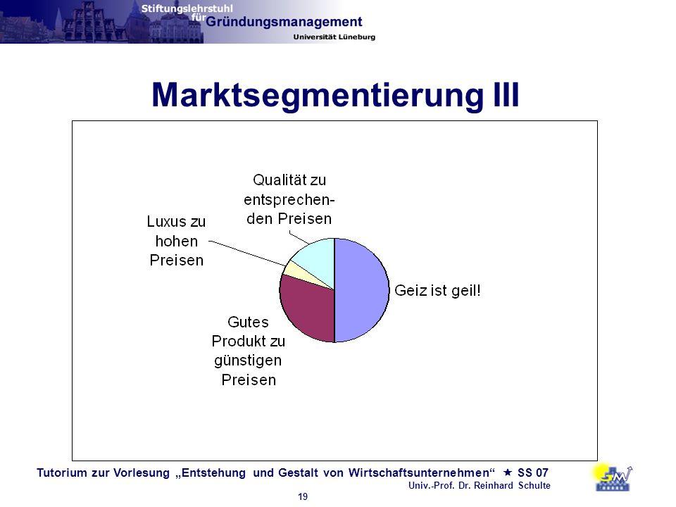 Tutorium zur Vorlesung Entstehung und Gestalt von Wirtschaftsunternehmen SS 07 Univ.-Prof. Dr. Reinhard Schulte 19 Marktsegmentierung III