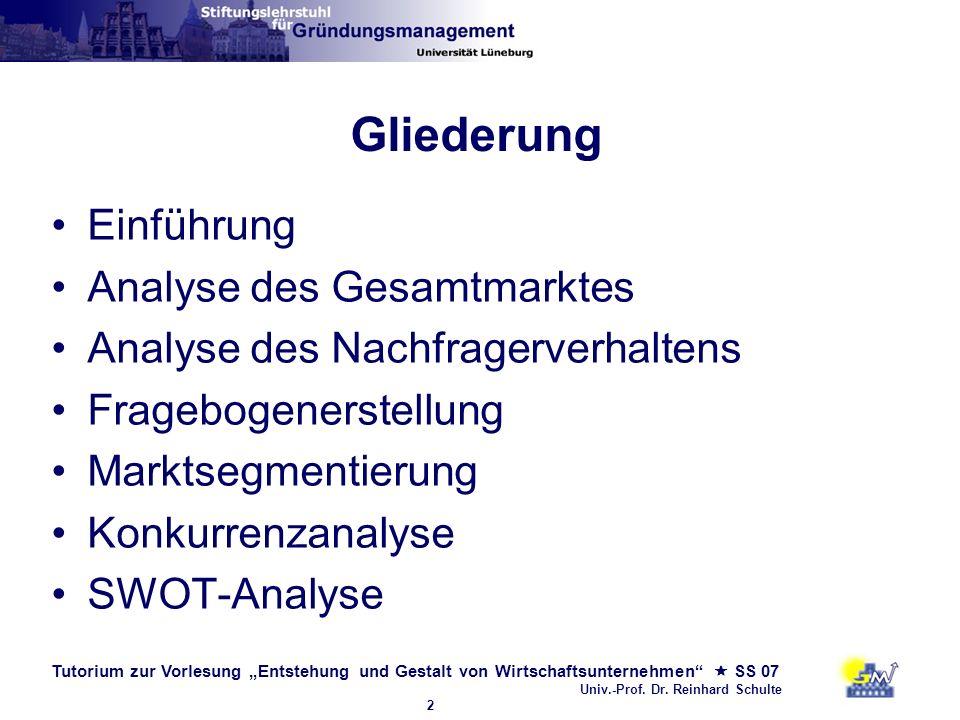 Tutorium zur Vorlesung Entstehung und Gestalt von Wirtschaftsunternehmen SS 07 Univ.-Prof. Dr. Reinhard Schulte 2 Gliederung Einführung Analyse des Ge