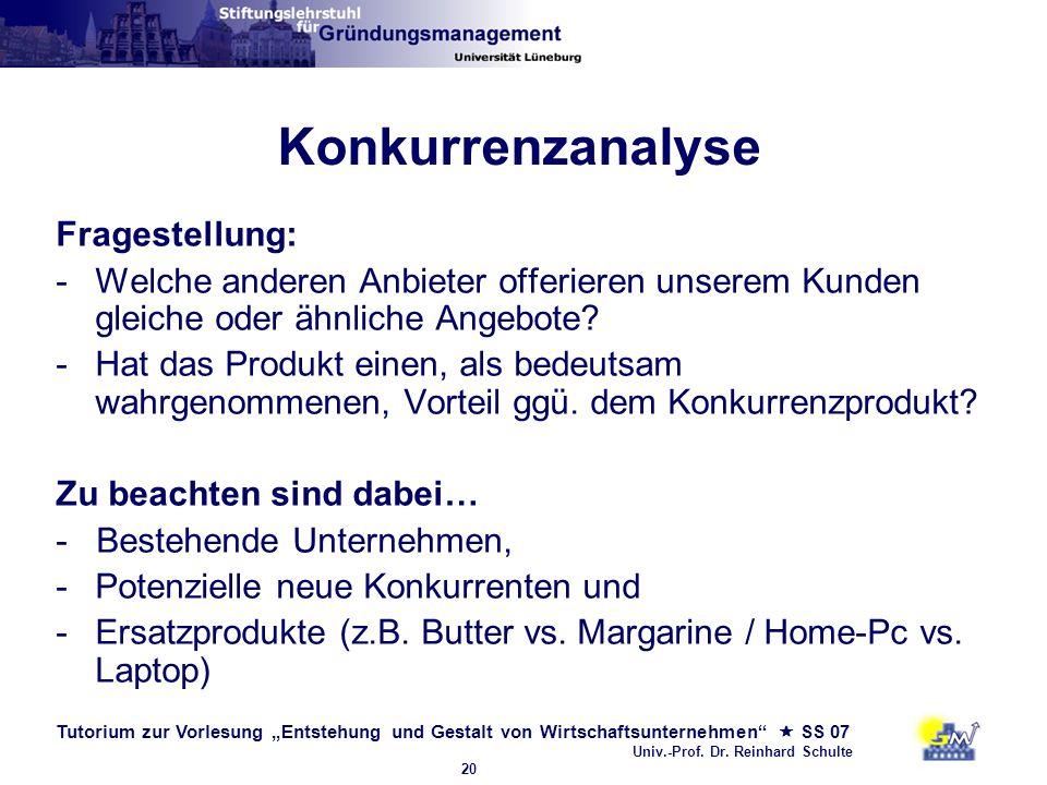 Tutorium zur Vorlesung Entstehung und Gestalt von Wirtschaftsunternehmen SS 07 Univ.-Prof. Dr. Reinhard Schulte 20 Konkurrenzanalyse Fragestellung: -W