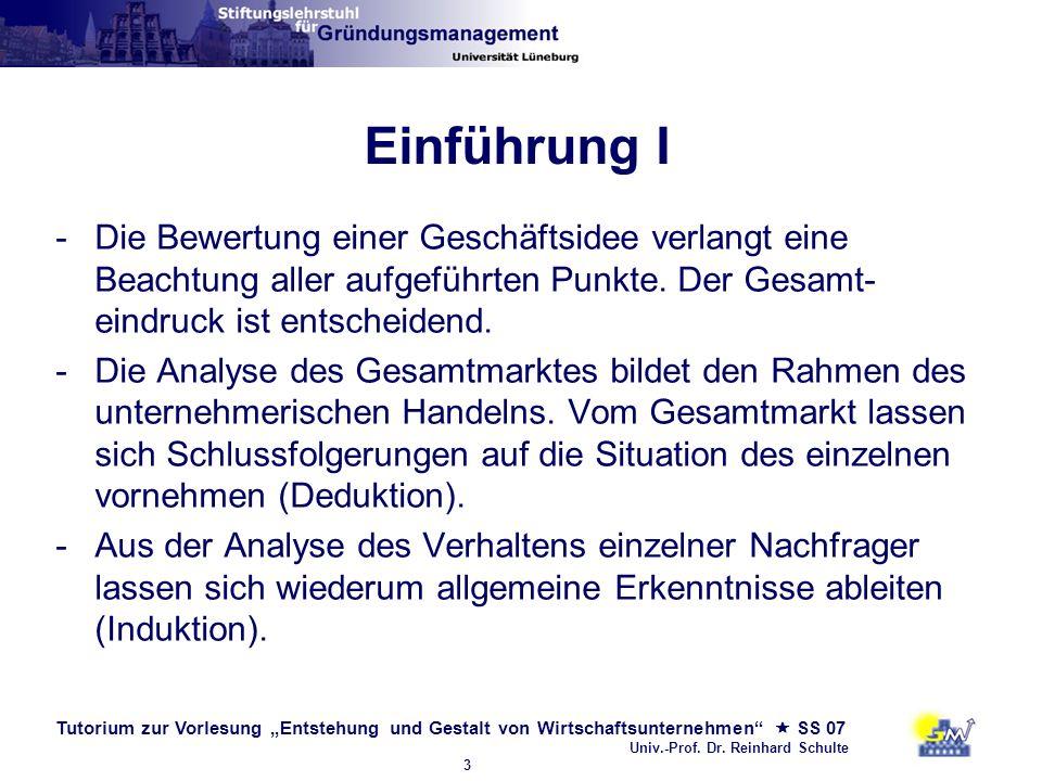 Tutorium zur Vorlesung Entstehung und Gestalt von Wirtschaftsunternehmen SS 07 Univ.-Prof. Dr. Reinhard Schulte 3 Einführung I -Die Bewertung einer Ge