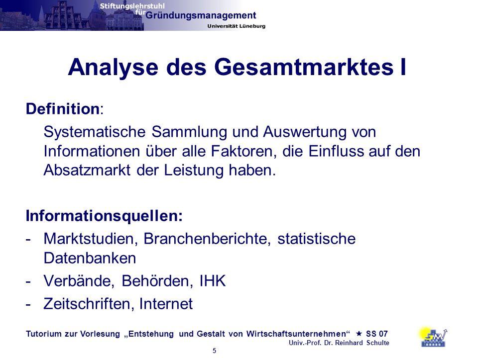 Tutorium zur Vorlesung Entstehung und Gestalt von Wirtschaftsunternehmen SS 07 Univ.-Prof. Dr. Reinhard Schulte 5 Analyse des Gesamtmarktes I Definiti