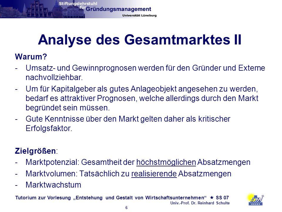 Tutorium zur Vorlesung Entstehung und Gestalt von Wirtschaftsunternehmen SS 07 Univ.-Prof. Dr. Reinhard Schulte 6 Analyse des Gesamtmarktes II Warum?