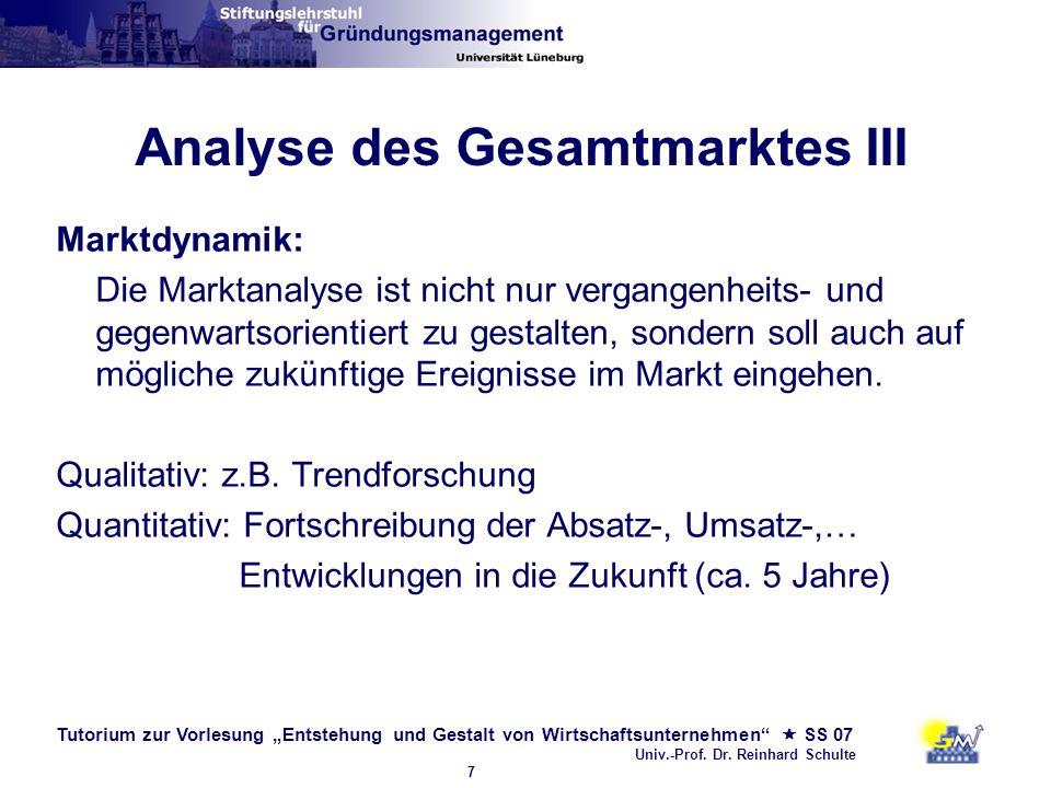 Tutorium zur Vorlesung Entstehung und Gestalt von Wirtschaftsunternehmen SS 07 Univ.-Prof. Dr. Reinhard Schulte 7 Analyse des Gesamtmarktes III Marktd