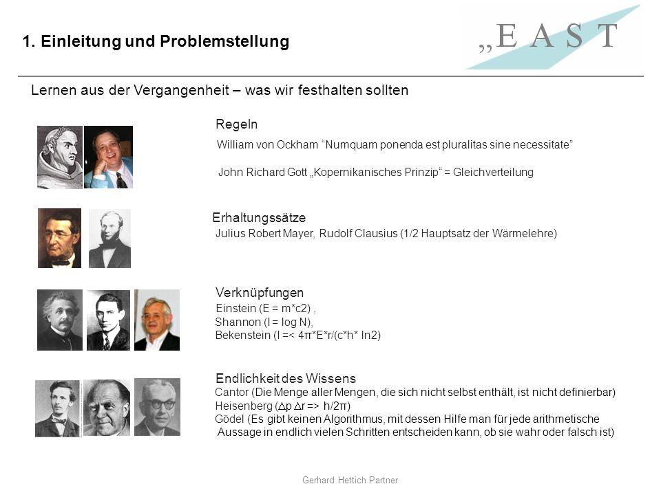 Gerhard Hettich Partner 1. Einleitung und Problemstellung Lernen aus der Vergangenheit – was wir festhalten sollten Regeln William von Ockham Numquam