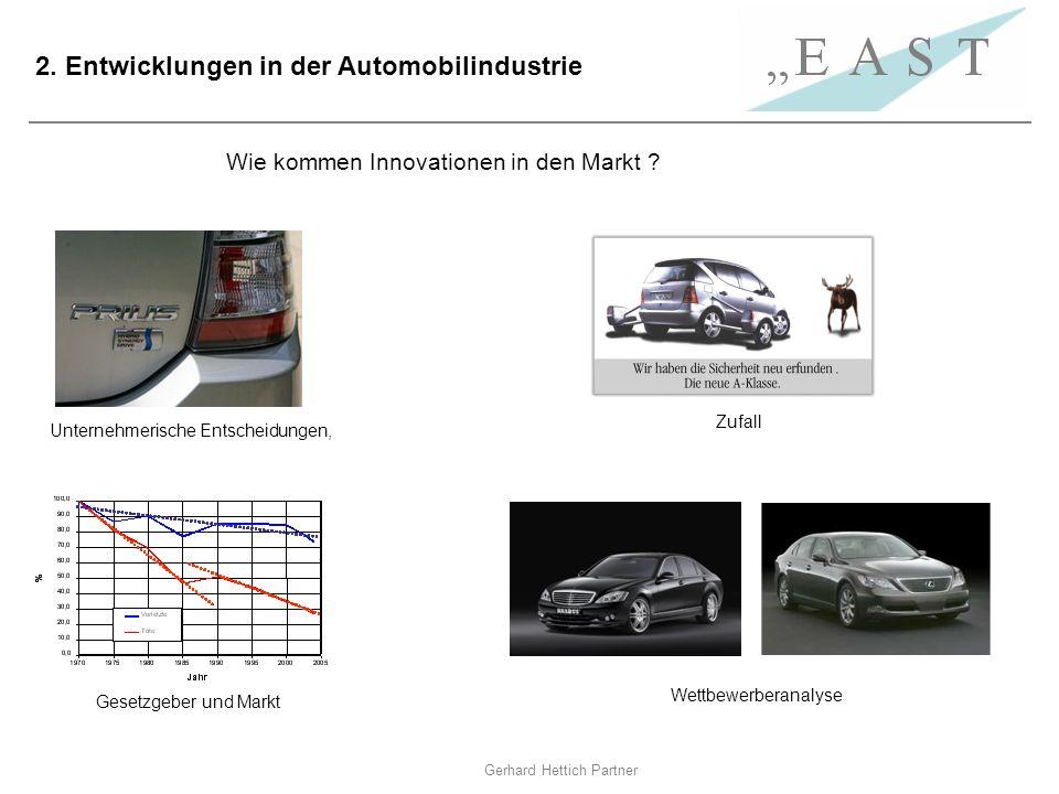Gerhard Hettich Partner 2. Entwicklungen in der Automobilindustrie Wettbewerberanalyse Wie kommen Innovationen in den Markt ? Unternehmerische Entsche