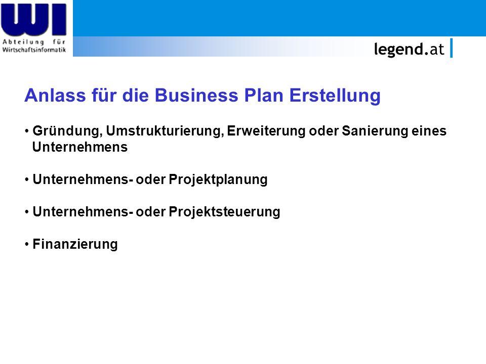 legend.at Anlass für die Business Plan Erstellung Gründung, Umstrukturierung, Erweiterung oder Sanierung eines Unternehmens Unternehmens- oder Projekt