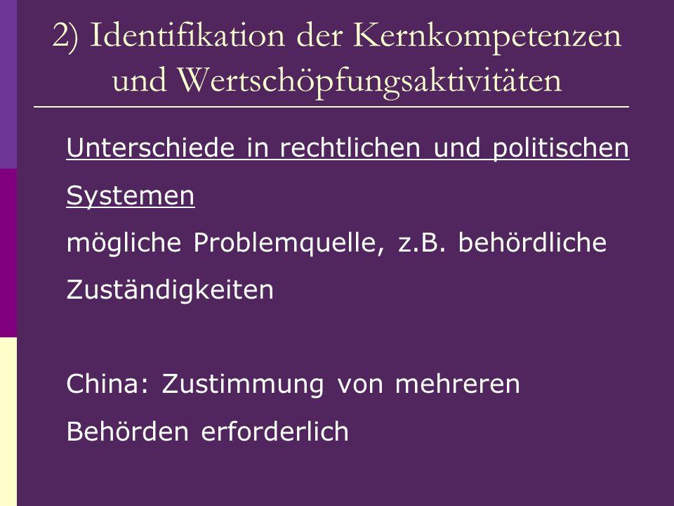 2) Identifikation der Kernkompetenzen und Wertschöpfungsaktivitäten Unterschiede in rechtlichen und politischen Systemen mögliche Problemquelle, z.B.