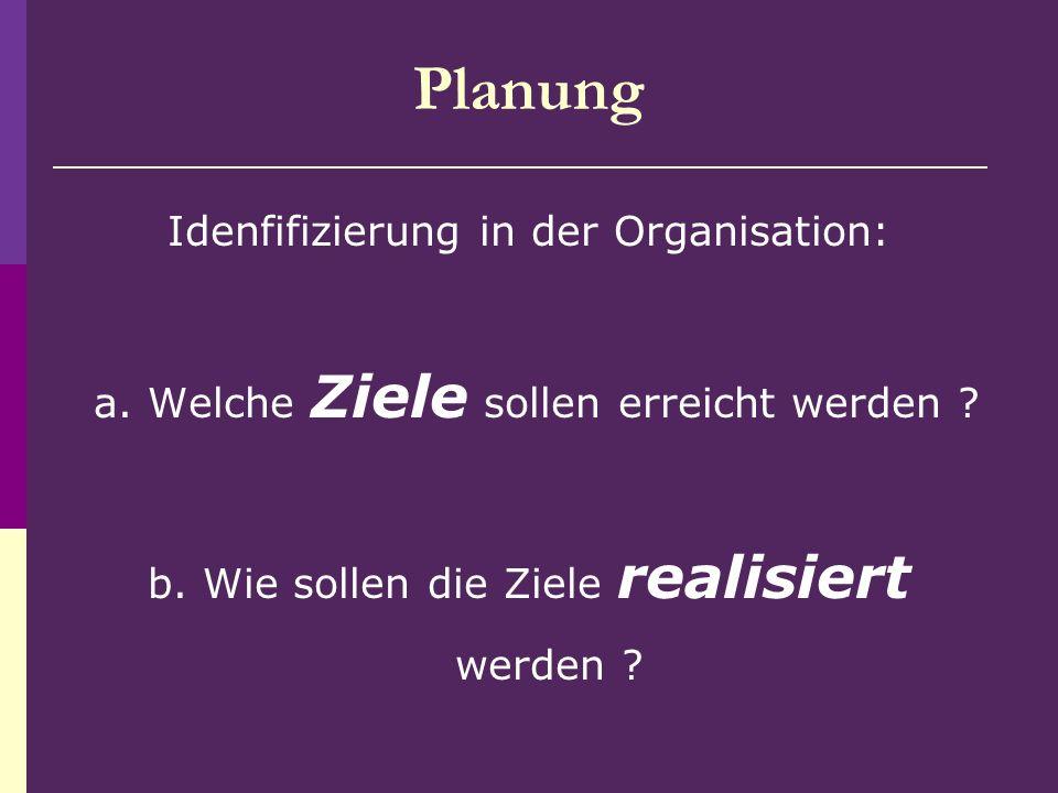 Planung Idenfifizierung in der Organisation: a. Welche Ziele sollen erreicht werden ? b. Wie sollen die Ziele realisiert werden ?