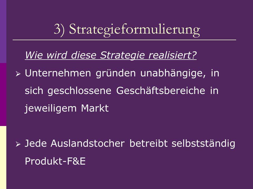 3) Strategieformulierung Wie wird diese Strategie realisiert? Unternehmen gründen unabhängige, in sich geschlossene Geschäftsbereiche in jeweiligem Ma