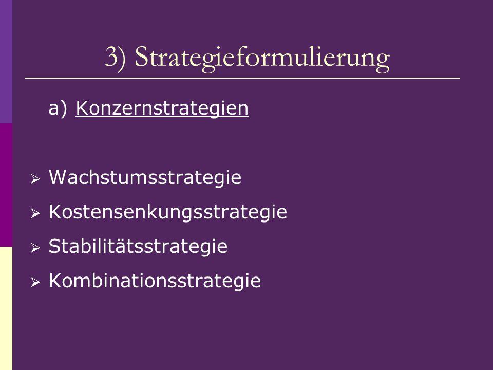 3) Strategieformulierung a) Konzernstrategien Wachstumsstrategie Kostensenkungsstrategie Stabilitätsstrategie Kombinationsstrategie