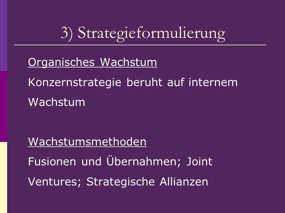 3) Strategieformulierung Organisches Wachstum Konzernstrategie beruht auf internem Wachstum Wachstumsmethoden Fusionen und Übernahmen; Joint Ventures;