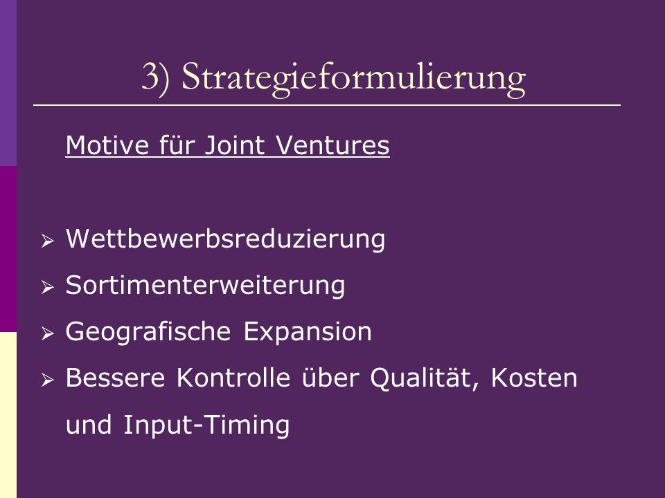 3) Strategieformulierung Motive für Joint Ventures Wettbewerbsreduzierung Sortimenterweiterung Geografische Expansion Bessere Kontrolle über Qualität,