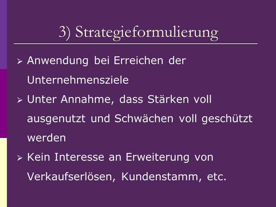3) Strategieformulierung Anwendung bei Erreichen der Unternehmensziele Unter Annahme, dass Stärken voll ausgenutzt und Schwächen voll geschützt werden