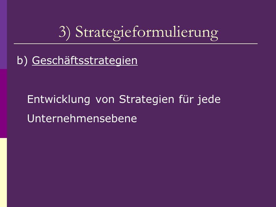 3) Strategieformulierung b) Geschäftsstrategien Entwicklung von Strategien für jede Unternehmensebene