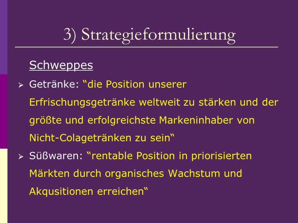 3) Strategieformulierung Schweppes Getränke: die Position unserer Erfrischungsgetränke weltweit zu stärken und der größte und erfolgreichste Markeninh