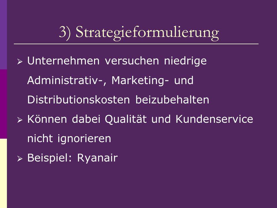 3) Strategieformulierung Unternehmen versuchen niedrige Administrativ-, Marketing- und Distributionskosten beizubehalten Können dabei Qualität und Kun