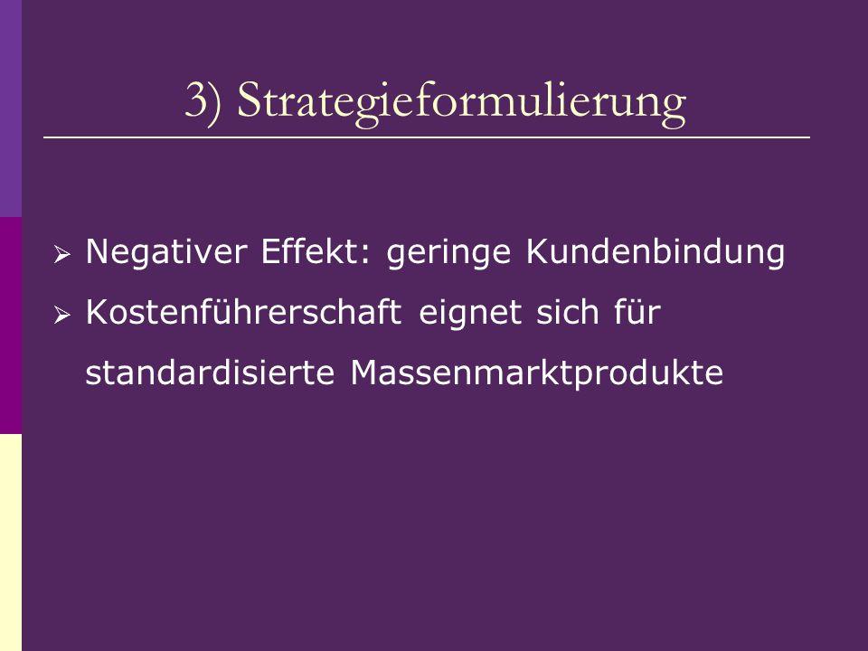 3) Strategieformulierung Negativer Effekt: geringe Kundenbindung Kostenführerschaft eignet sich für standardisierte Massenmarktprodukte