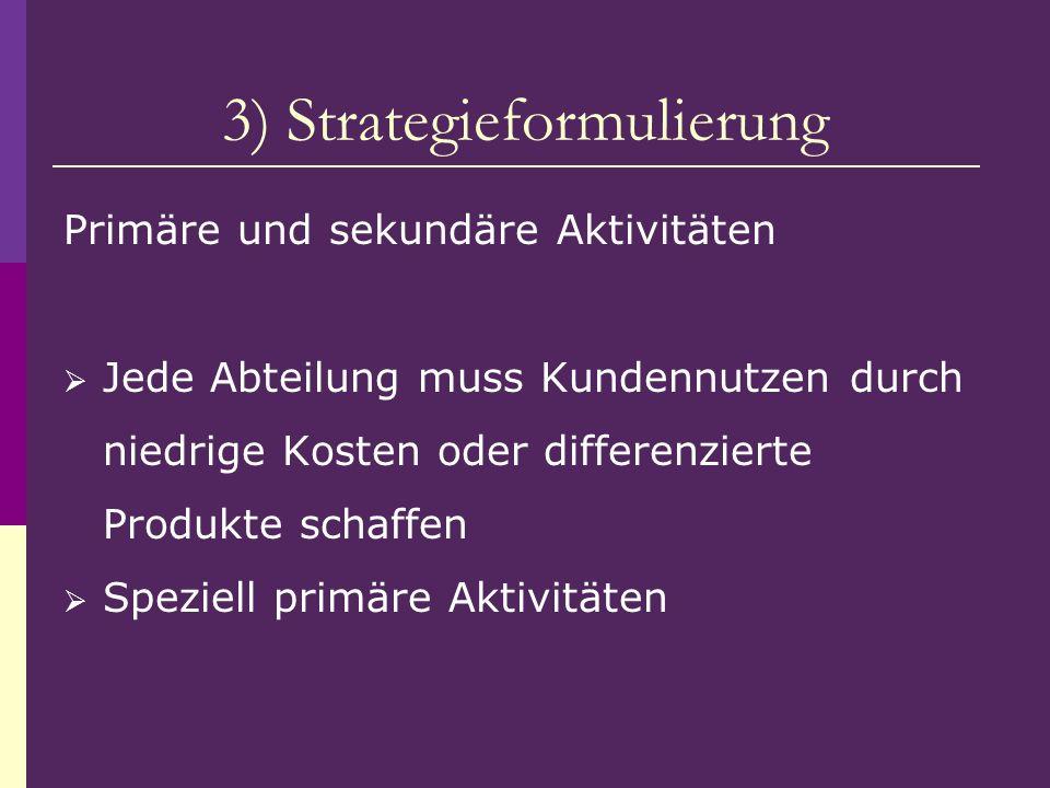 3) Strategieformulierung Primäre und sekundäre Aktivitäten Jede Abteilung muss Kundennutzen durch niedrige Kosten oder differenzierte Produkte schaffe