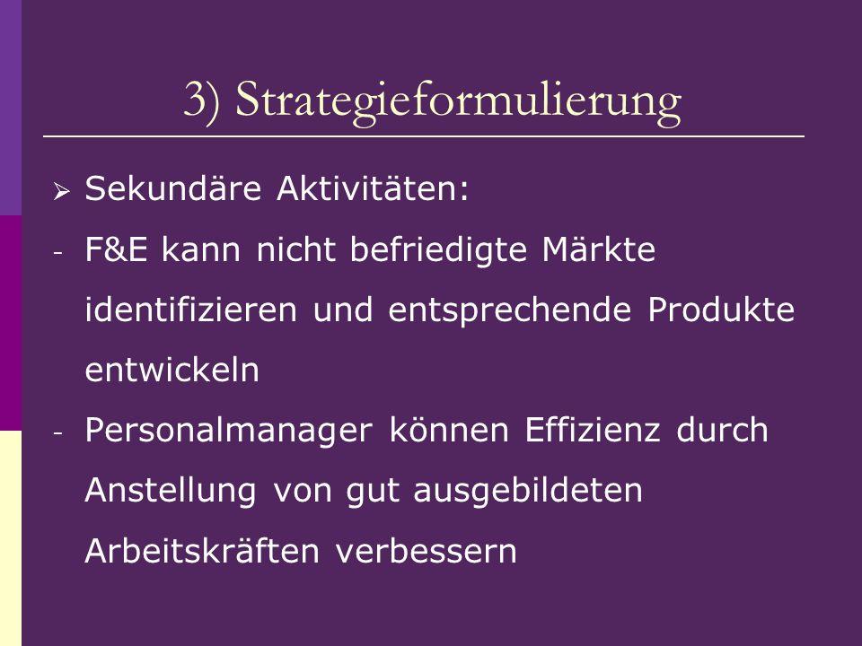 3) Strategieformulierung Sekundäre Aktivitäten: - F&E kann nicht befriedigte Märkte identifizieren und entsprechende Produkte entwickeln - Personalman