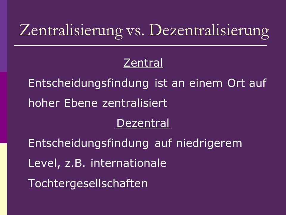 Zentralisierung vs. Dezentralisierung Zentral Entscheidungsfindung ist an einem Ort auf hoher Ebene zentralisiert Dezentral Entscheidungsfindung auf n