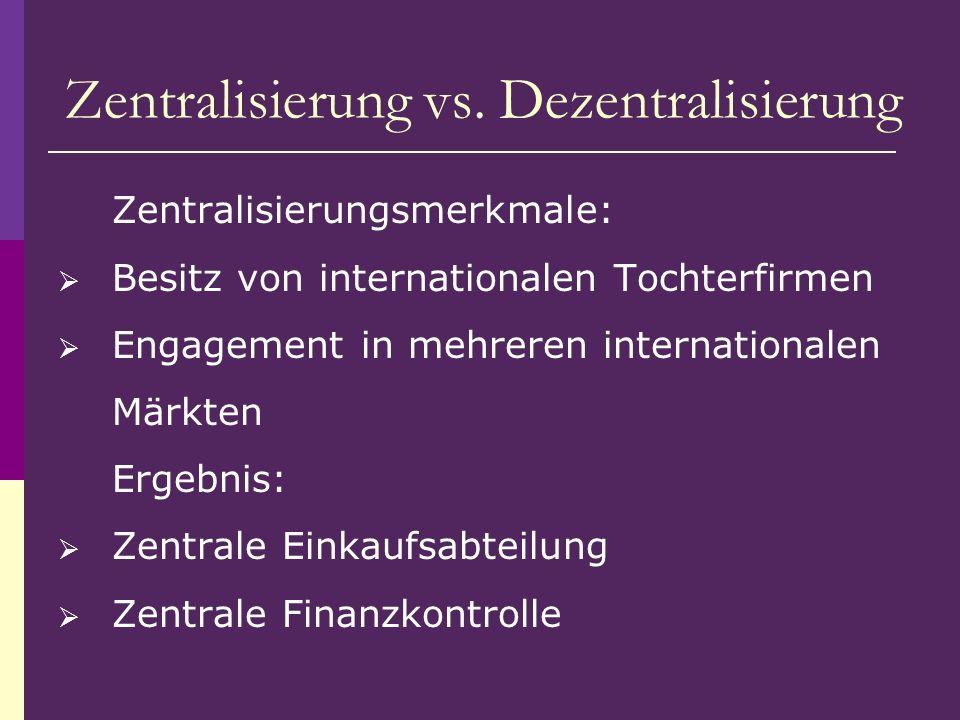 Zentralisierungsmerkmale: Besitz von internationalen Tochterfirmen Engagement in mehreren internationalen Märkten Ergebnis: Zentrale Einkaufsabteilung