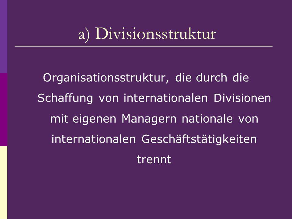 Organisationsstruktur, die durch die Schaffung von internationalen Divisionen mit eigenen Managern nationale von internationalen Geschäftstätigkeiten