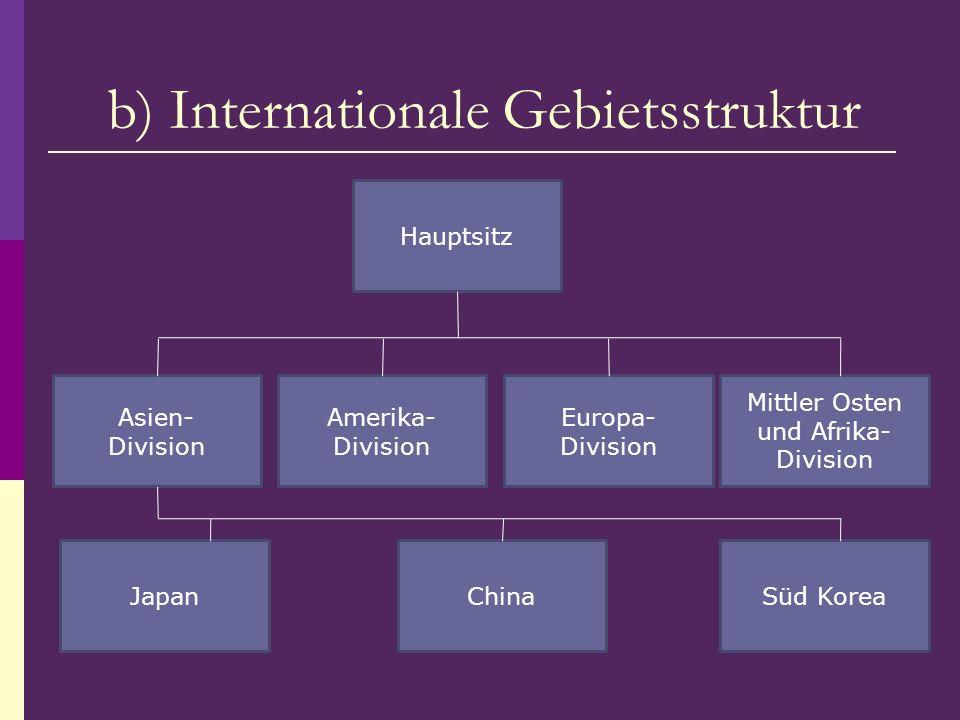 Hauptsitz Asien- Division Amerika- Division Europa- Division Mittler Osten und Afrika- Division Süd KoreaChinaJapan b) Internationale Gebietsstruktur