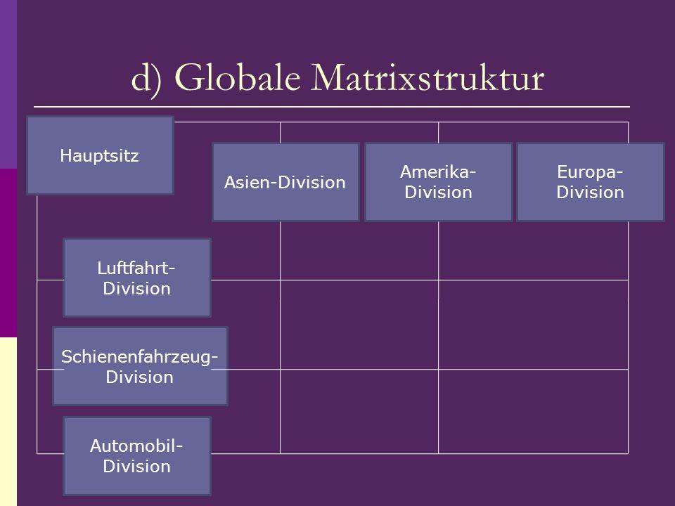 d) Globale Matrixstruktur Amerika- Division Luftfahrt- Division Hauptsitz Asien-Division Europa- Division Schienenfahrzeug- Division Automobil- Divisi