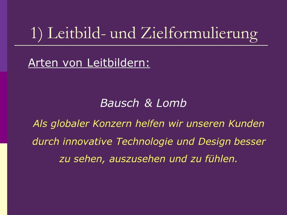 1) Leitbild- und Zielformulierung Arten von Leitbildern: Bausch & Lomb Als globaler Konzern helfen wir unseren Kunden durch innovative Technologie und