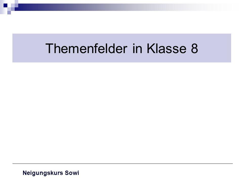 Neigungskurs Sowi Themenfelder in Klasse 8