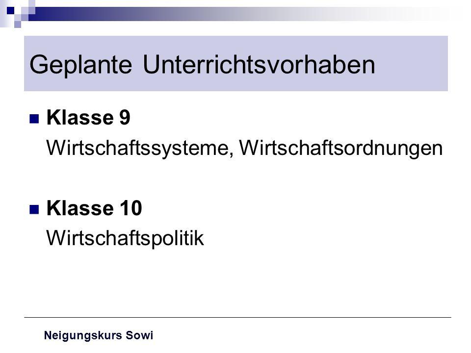 Neigungskurs Sowi Geplante Unterrichtsvorhaben Klasse 9 Wirtschaftssysteme, Wirtschaftsordnungen Klasse 10 Wirtschaftspolitik