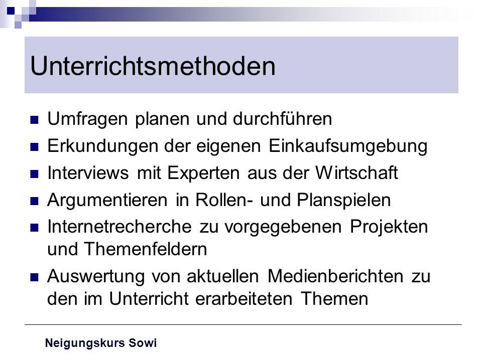 Neigungskurs Sowi Unterrichtsmethoden Umfragen planen und durchführen Erkundungen der eigenen Einkaufsumgebung Interviews mit Experten aus der Wirtsch