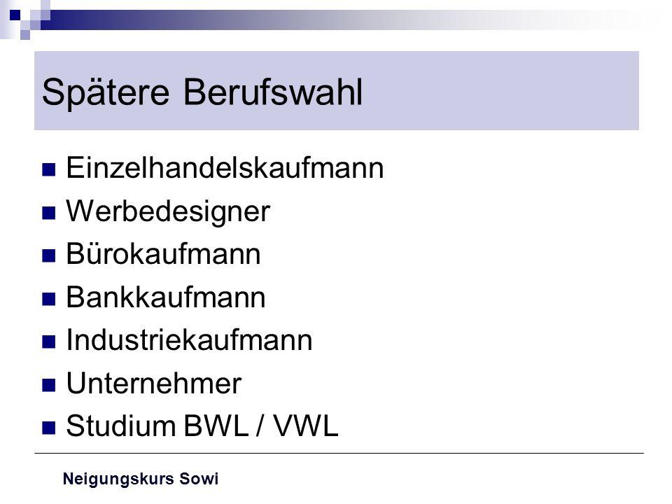 Neigungskurs Sowi Spätere Berufswahl Einzelhandelskaufmann Werbedesigner Bürokaufmann Bankkaufmann Industriekaufmann Unternehmer Studium BWL / VWL