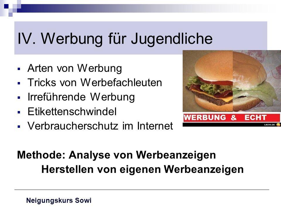 Neigungskurs Sowi IV. Werbung für Jugendliche Arten von Werbung Tricks von Werbefachleuten Irreführende Werbung Etikettenschwindel Verbraucherschutz i