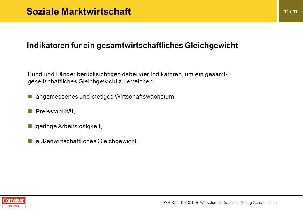 POCKET TEACHER Wirtschaft © Cornelsen Verlag Scriptor, Berlin 11 / 11 Soziale Marktwirtschaft Indikatoren für ein gesamtwirtschaftliches Gleichgewicht