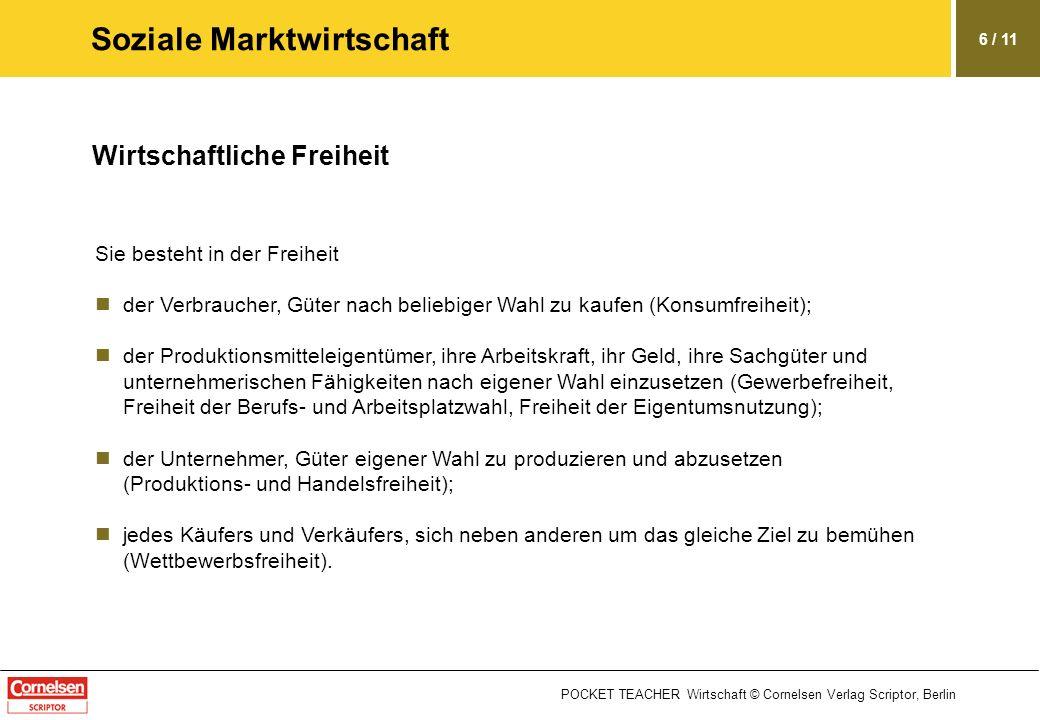 POCKET TEACHER Wirtschaft © Cornelsen Verlag Scriptor, Berlin 6 / 11 Soziale Marktwirtschaft Wirtschaftliche Freiheit Sie besteht in der Freiheit der