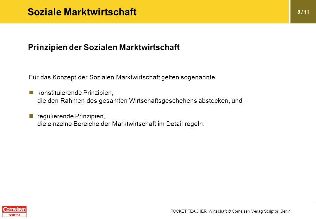 POCKET TEACHER Wirtschaft © Cornelsen Verlag Scriptor, Berlin 8 / 11 Soziale Marktwirtschaft Prinzipien der Sozialen Marktwirtschaft Für das Konzept d