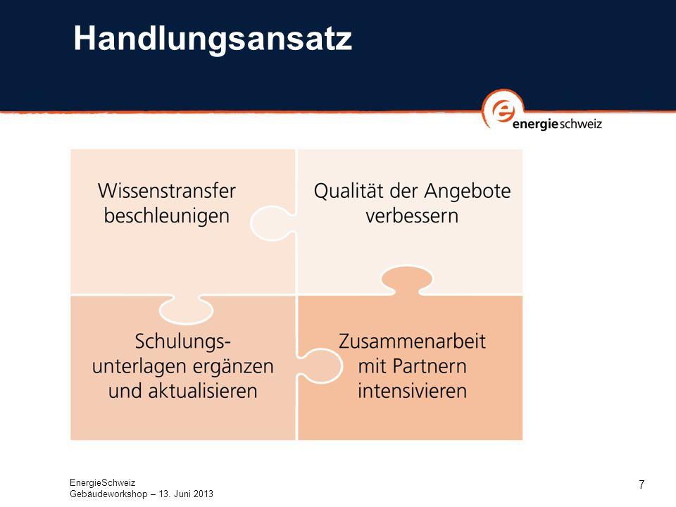7 Handlungsansatz EnergieSchweiz Gebäudeworkshop – 13. Juni 2013