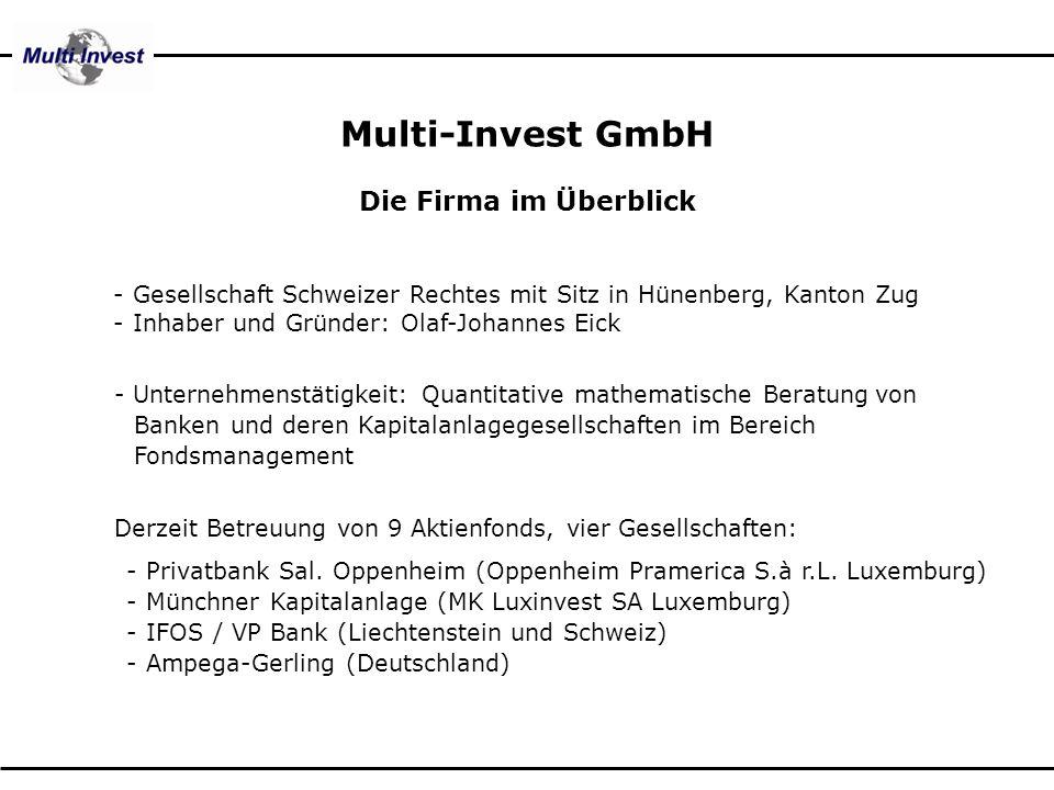 Multi-Invest GmbH Die Firma im Überblick Derzeit Betreuung von 9 Aktienfonds, vier Gesellschaften: x x- Privatbank Sal. Oppenheim (Oppenheim Pramerica